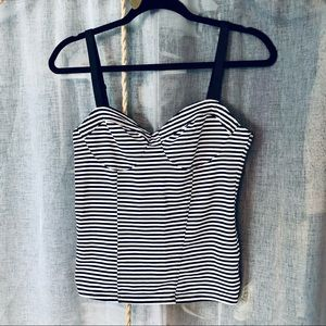 H&M Black and White Striped Bustier Tank Top